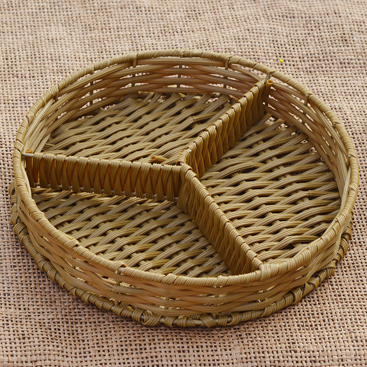 Lmitation Rattan Ribbon Sub-Grid Dry Fruit Plate Pastic Basket