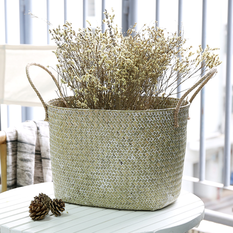 Set of 2 Natural Woven Seagrass Tote Belly Basket for Storage