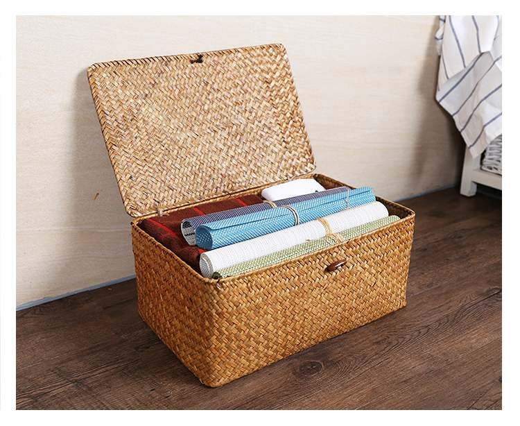 Set of 3 Straw woven basket with lid, Square storage box, Utility basket,Personalized gift
