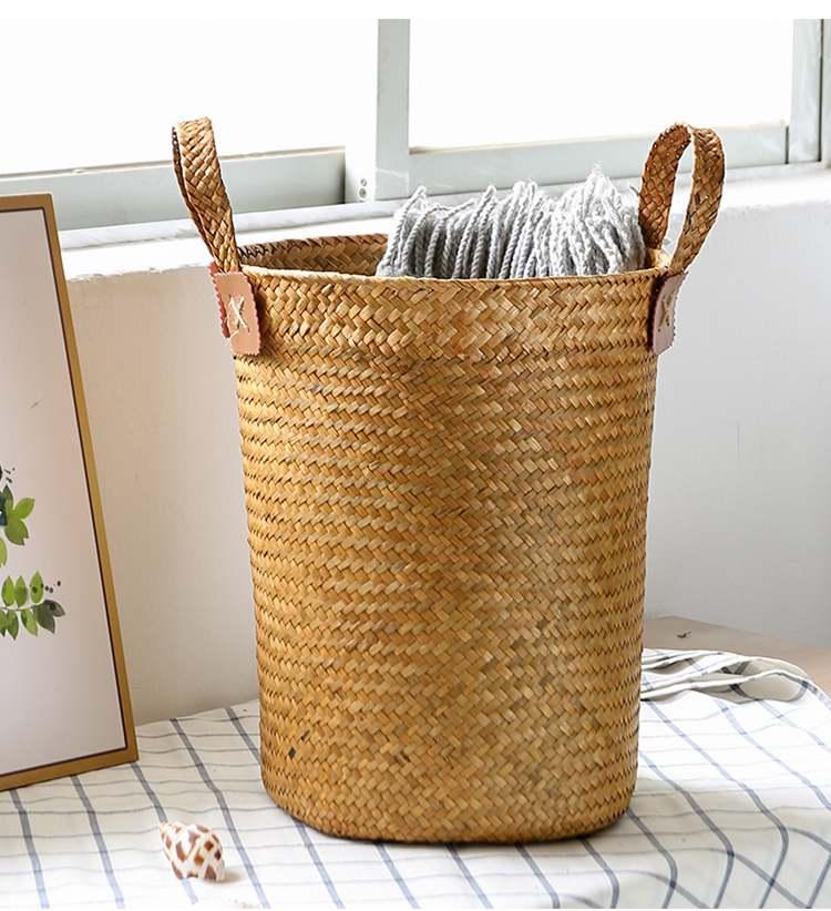 Straw Storage Barrel Houseplant Decor Wicker Storage Bathroom Office Trash Can