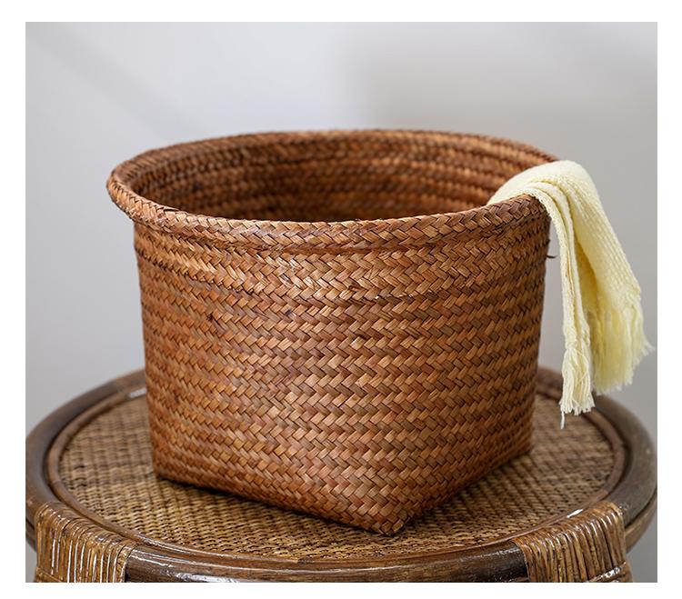 Straw woven basket, Vintage straw round basket, Utility basket,Personalized gift