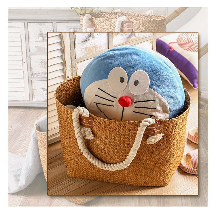 Straw woven basket with handle, Oval storage basket