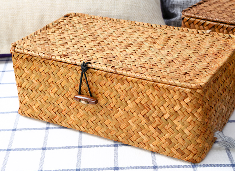 Straw woven basket with lid, Square storage box, Utility basket,Personalized gift