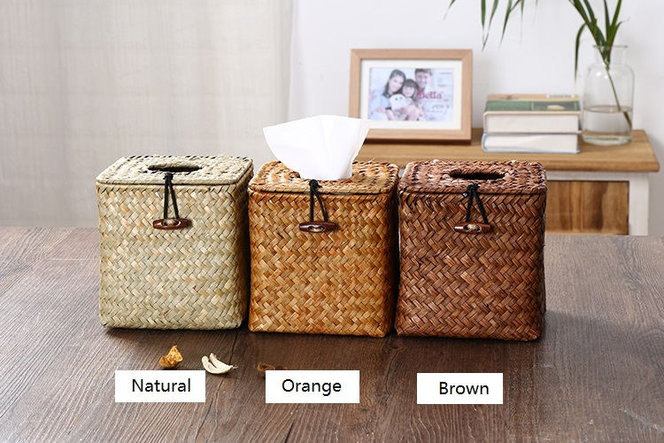 Straw woven tissue box with heart buckle,square tissue storage basket,straw tissue box,tissue holder