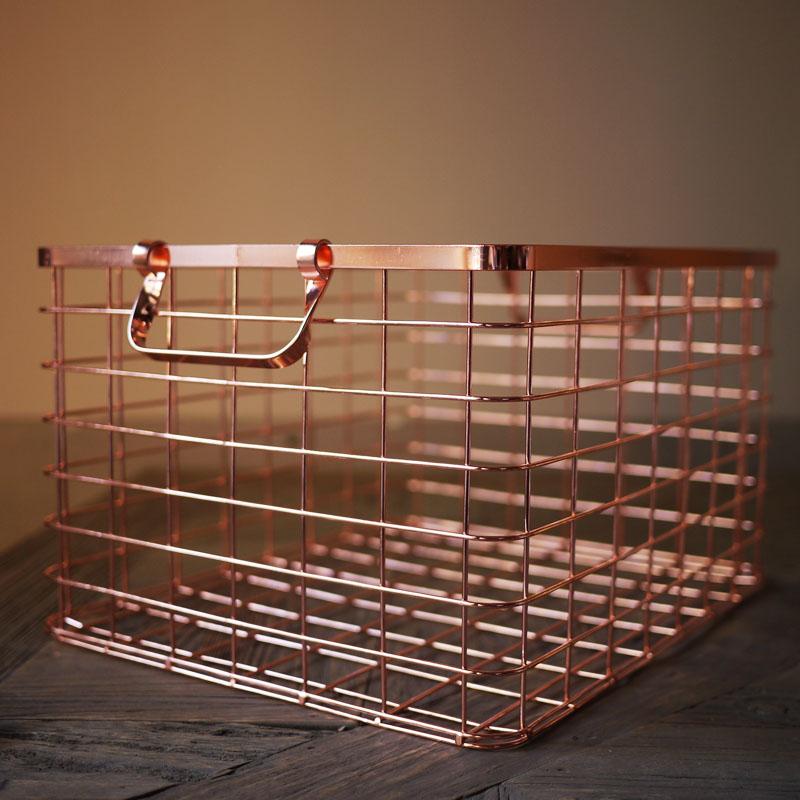 wire rose gold basket